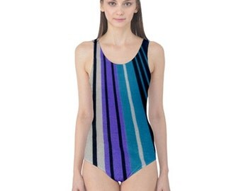 Blue Striped One Piece Swimsuit, Stylish, Exotic, and Uniquely Artistic Designed Women's Swimwear, Free Worldwide Shipping, SALE