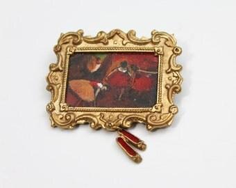 80s Degas Painting Brooch   Ballerina Painting Brooch