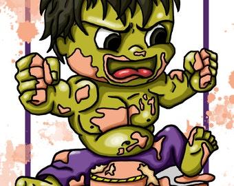 The Avengers / Original Drawing / Illustration for Children / The Hulk / A4 Print