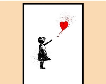 ON SALE 50% OFF Banksy Balloon Girl, Banksy Girl with a Ballon, Watercolor print, Kids Room Decor, Poster, print,gift,Instant Download