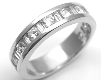 Channel Set Round Brilliant and Baguette Cut Diamond Wedding Ring Fully UK Hallmarked (WD141-2)
