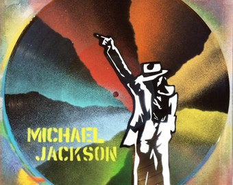 Artistic version of Michael Jackson vinyl record spray paint decoration handmade stencil clock