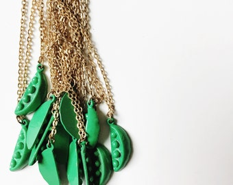 Tiny Vintage Green Pea Necklace