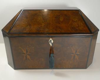 Magnificent Large French Inlaid Walnut Jewelry Box c.1820