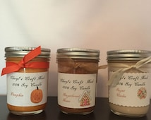 SOY CANDLES, half pint jar candles, home decor, scented candles