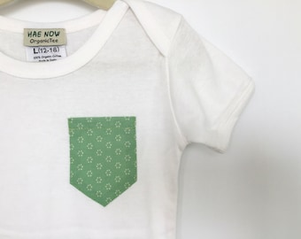 REDUCED Light Green Pocket Baby Onesie, Fair Trade Certified & made with Organic Cotton