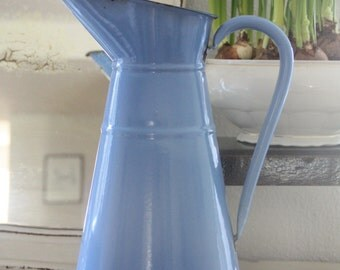 Vintage Large French Enamel Pitcher, Blue with Dark Blue Rim, Water Jug