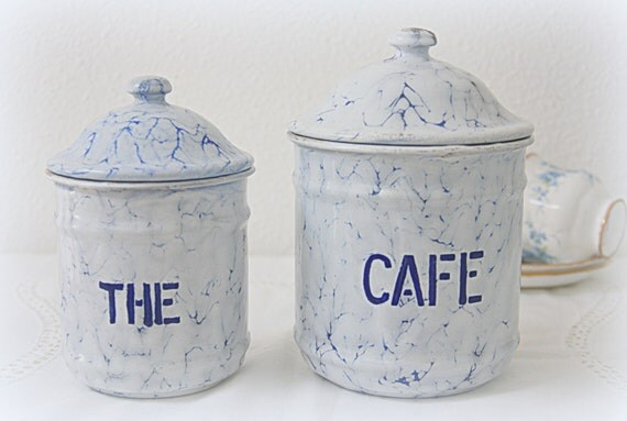 Set of Two Vintage French Enamel Canisters, White with Marble Blue Effect, Coffee and Tea Storage Jars