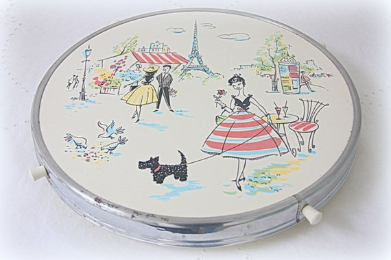 Vintage Spinning Cake Tray, Spinning Plate, Serving Tray for Tapas or Cheese, French Street Scene, Eiffel Tower Decor