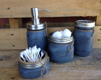 Set of 4/5 Painted Mason Jars. Mason Jar Bathroom Set. Bathroom Decor. Home Decor. Soap Dispenser. Rustic, Vintage Looking. Shabby Chic. Gif