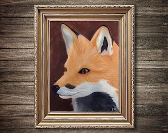 Red Fox Painting, 11 x 14, Original Oil Painting, Animal Painting, Fox Art