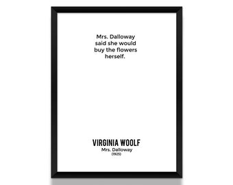 Virginia Woolf Poster, Mrs. Dalloway Opening Lines Poster, Literature Poster, Book Poster