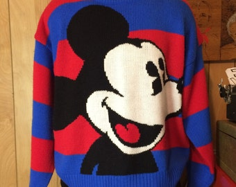 Vintage 1990's Mickey Mouse Striped Knit Sweater Men's S