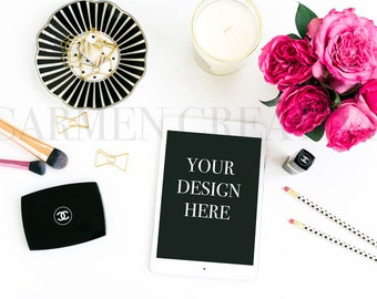 iPad Styled Stock Photography, Desktop Styled Photography, Chanel Beauty Stock Photos