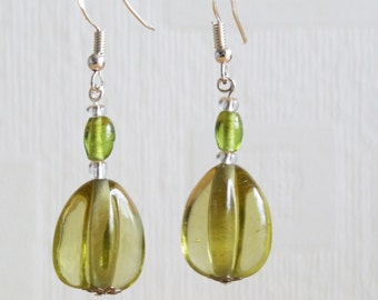 Yellow Glass Teardrop Earrings