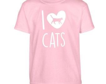 I love cats Tshirt kids children's toddler animal heart lover kitten meow pet cute pink blue red green white gift tumblr instagram paw 2185