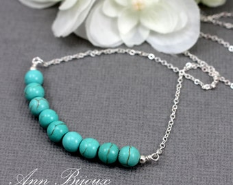 Delicate Turquoise Necklace, Sterling Silver Turquoise Necklace, Turquoise Layered Necklace, Natural Turquoise Necklace, Mom Necklace, N042