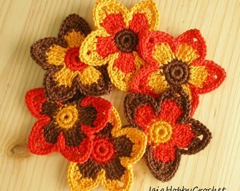 6 Crochet Flowers, Crochet Appliques, Crochet Flower, Crochet Embellishments set of 6 - READY TO SHIP