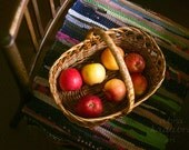 Apples in basket rustic Instant Digital Download Art Photography Printable, kitchen decor, autumn gifts, yellow, red and brown home decor