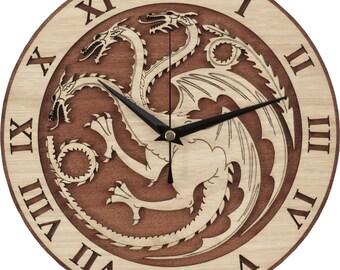 Targaryen Clock in Wood - Game of Thrones Clock