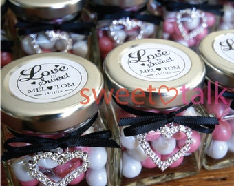 Wedding Favour, Valentines Day Bomboniere - Chocolates Candy Jar with Jewel Heart Charm