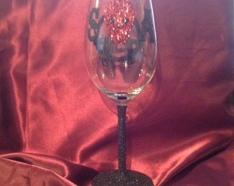 Sons of anarchy inspired red wine glass