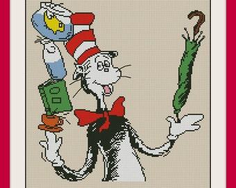 Doctor Seuss Cat in the Hat , INC Cross Stitch Pattern, BOGO, PDF counted cross stitch pattern,R031