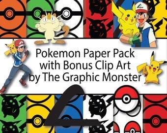 Pokemon Scrapbook Paper, Digital Paper, Pokemon, Scrapbook Paper, Pikachu Digital Paper, Instant Download Pokemon Paper