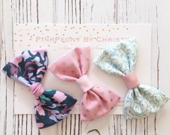 3 small fabric bow set- baby hairclip-little girl hairbow- pastel color bow-gift set- Valentines day bow
