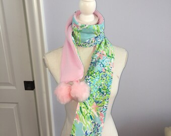 Blue Heaven Pompom Scarf made with Lilly Pulitzer Fabric