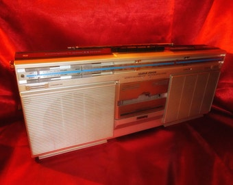 Vintage 80s PHILIPS D8112 Ghetto Blaster BOOMBOX Breakdance Retro Tape Radio