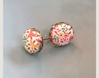 no.53 Stud Liberty Fabric button earrings - Fireworks