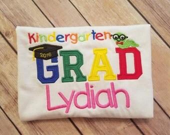 Kindergarten graduation shirt. Pick your name color.
