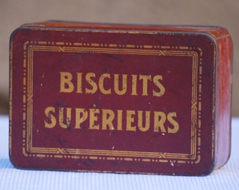 Box of biscuits in metal - vintage - France