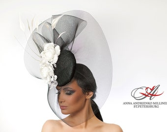 Fashion Millinery Couture Derby Ornate Royal Ascot horse race hat, Black White Fascinator, Melbourne cup hat, Wedding quest tea party hat.