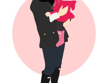 Cute mummy and baby illustrated portraits, custom prints