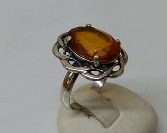 Nostalgic amber ring 925 Silver SR426