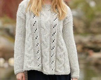 Alpaca sweater knit with cables and lace ,alpaca and soft merino wool, for women