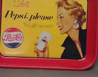 Pepsi-Cola Select Pepsi Please Light Refreshment Metal  Tray