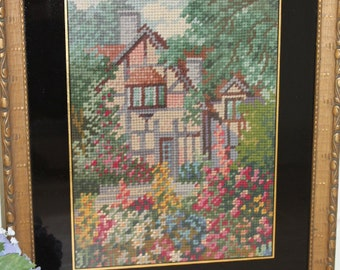 Vintage Cottage Garden Needlepoint/Tapestry/Embroidery Picture