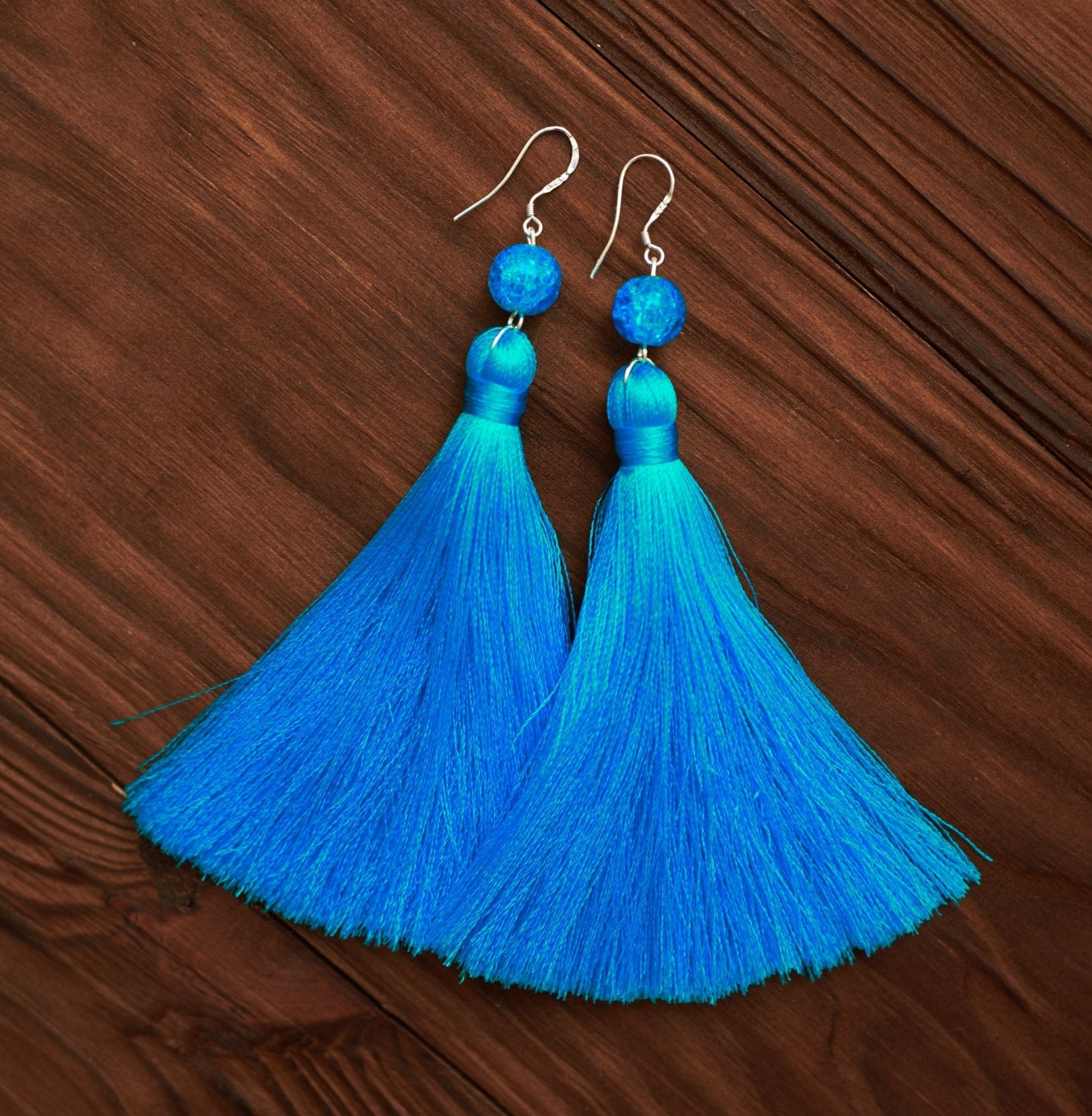 turquoise silk tassel earrings with glass by