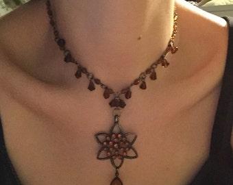 Vintage 1990s Y-necklace y necklace like lariat Amber look
