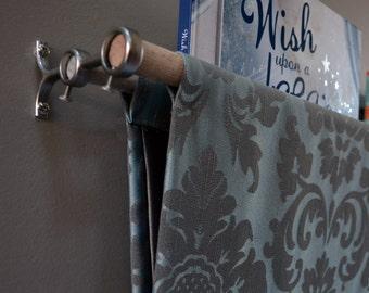 Blue, Brown Damask Floral Fabric Book Sling, Book Holder, Book Case