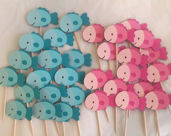 Fish cupcake toppers • Pink and blue • Set of 14