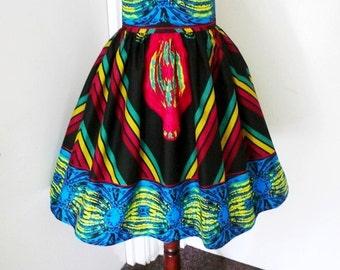 Black and Fuchsia Multi Ankara Skirt, African Wax High Waist Dirndl Skirt, Short Gathered Skirt - Made to Order