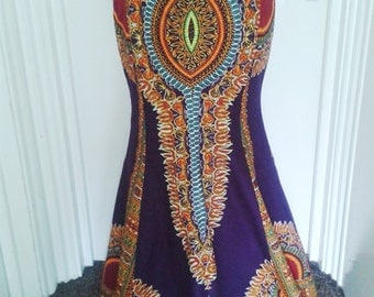 Collette Purple Angelina African Wax Trumpet Skirt, Long Dashiki Maxi Skirt - Made to Order