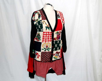 2X 3X plus size Christmas sweater coat eco clothing altered refashioned upcycled restyled boho indie romantic lagenlook trendy unique edgy