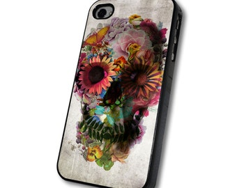 Floral Skull Phone Case for iphone case and samsung galaxy case by tetuko