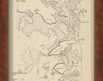 Cataumet, Wenaumet, Monument Beach & Onset Massachusetts - Nautical Chart by George W. Eldridge 1901