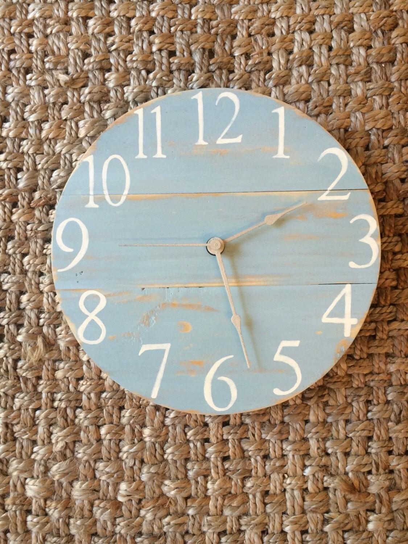 Shabby chic teal distressed clock 12 sample custom - Telas shabby chic ...